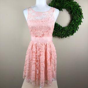 BB DAKOTA   Pink Lace Midi Dress Size 6